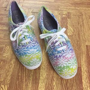Keds  sz 8 Rainbow Floral Canvas Sneakers